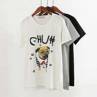Letter And Dog Print T-Shirt