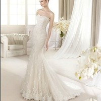 White Mermaid Strapless Lace 2013 Wedding Dress IWD0211 -Shop offer 2013 wedding dresses,prom dresses,party dresses for girls on sale. #Category#