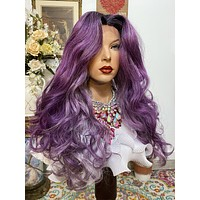 """KATINA Lilac Purple Silk Base Lace 4x4 freestyle part HD lace front wig 22"""" Undetectable hairline + Lots of Volume and Curls 1-18"""