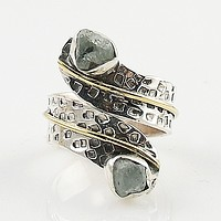Aquamarine Rough Two Tone Sterling Silver Adjustable Ring