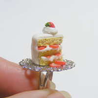 Scented or Unscented Strawberry Shortcake Slice Miniature Food Ring - Miniature Food Jewelry