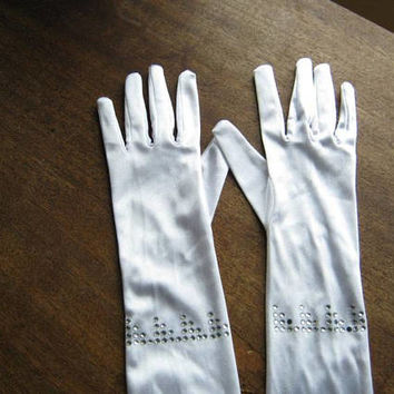 1980s-'90s Glam White Satin Opera Length Gloves with Silver Sequins~Above-elbow Long Gloves for Club, Burlesque, Event, Diva; Free Ship/U.S.