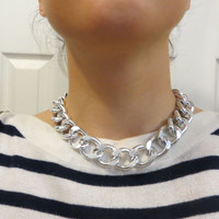 Large Silver Chunky Curb Chain Necklace