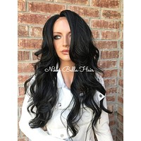 Jet Human Hair Blend Multi Parting Lace Front Wig