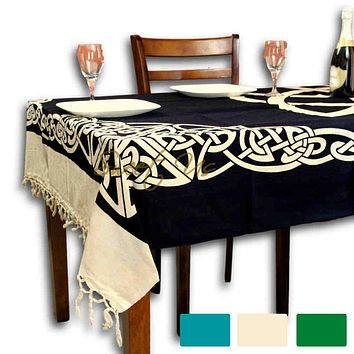 Cotton Celtic Trinity Tapestry Heavy Triquetra Tablecloth Bedspread with Fringes