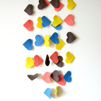Felt Heart Garland - Felt Garland Bunting, kids room decor, colorful garland, blue, yellow, brown, pink