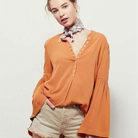 Bohemia Scales Pullover Chiffon Tops V-neck Shirt Loudspeaker [6295608068]