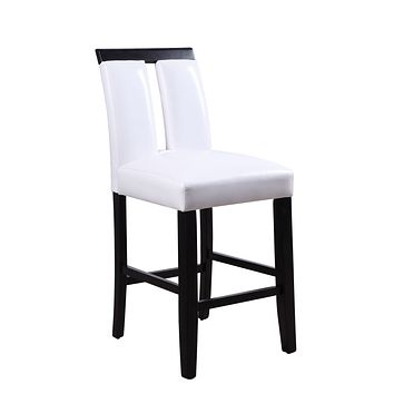 """Wood Accent Chair - 19"""" X 24"""" X 41"""" White PU Black Wood Upholstered (Seat) Counter Height Chair (Set-2)"""