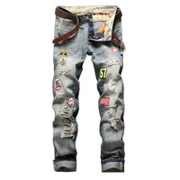 Stonewashed Patches Straight Leg Jeans