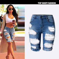 Sexy Women Girl Summer High Waist Ripped Hole Wash Denim Jeans Shorts Pants = 4721873220