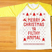 Red Text Merry Christmas Ya Filthy Animal Shirt Merry Christmas Shirt Yellow Sleeve Tee Shirt Women Shirt Unisex Shirt Baseball Shirt S,M,L