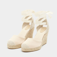 Beige tie-up jute wedges - pull&bear