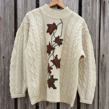 Vintage Womens Cable Knit Shetland Wool Sweater - Hand Embroidered - SZ L