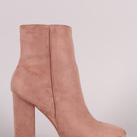 Suede Almond Toe Chunky Heel Ankle Boots