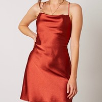 cowl neck satin mini dress with strappy low cut back - copper