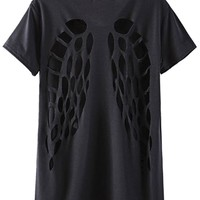 Black Cutout Back Tee - OASAP.com