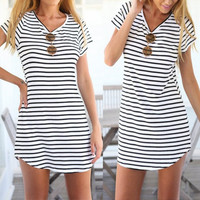 Women's Black/White Summer Striped Casual Short Sleeve Pullover Shift Dress
