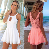 Pink Beach Romper with Lace Detail