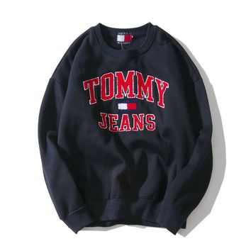Tommy Jeans autumn and winter tide brand embroidery classic letter round neck pullover loose sweater Black