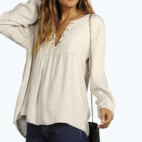 Becki Chain Cross Front Woven Blouse