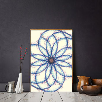 Flower of Life Printable Art Print - Fractal Art Ready For Download | Spiritual and Peaceful Home Decor | Minimalist Mandala Wall Hanging