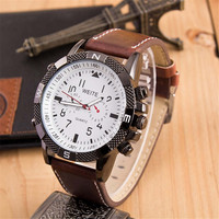 Mens Vintage Army Style Leather Strap Watch Bicycle Sports Watches + Beautiful Gift Box