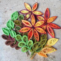 Leaves wall art Paper wall hanging Fall ,autumn home decor Quilled wall art 3D wall decor