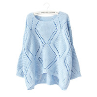 Knit Batwing Sleeve Hollow Out Tops [8422523841]