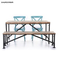 iKayaa  4PCS Industrial Style Pinewood Top Kitchen Dining Breakfast Table+Bench+2*Steel Chairs Home Table Set Furniture