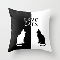 OPPOSITES LOVE: CATS Throw Pillow by Alice Gosling | Society6