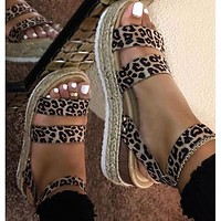 Summer New Large Size Sponge Cake with Buckle Leopard Print Hemp Rope Woven Wedge Sandals