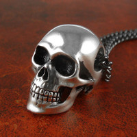 "Skull Necklace Antique Silver Anatomical Human Skull Pendant on 24"" Gunmetal Chain"