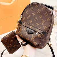 LV Louis Vuitton Fashion New Monogram Leather Mini Book Bag Backpack Bag Crossbody Bag Women Two Piece Suit Bag
