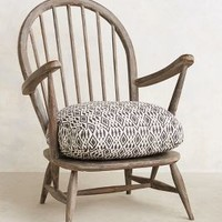 Cushioned Woodwork Chair by Anthropologie in Black & White Size: One Size Furniture