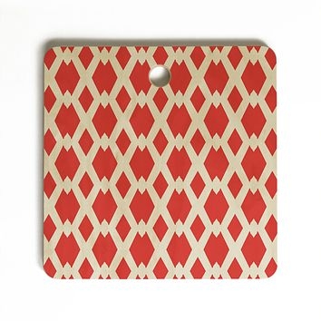 Lisa Argyropoulos Daffy Lattice Coral Cutting Board Square