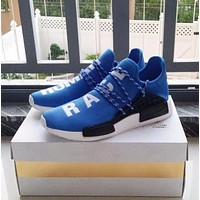 Pharrell Williams x Adidas Consortium NMD Human Race Blue Sport Running Shoes Classic Casual Shoes Sneakers