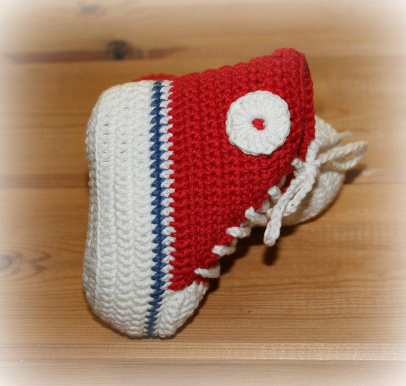 Crochet Baby Booties High Top Converse Style Pattern : Organic baby crochet converse style boots from ...