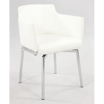 Chintaly Dusty Club Style Swivel Arm Chair In White