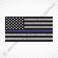Subdued United States Flag Blue Line Sticker Vinyl Decal Police Law Enforcement
