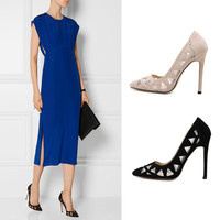 Suede Hollow Out Pointed Toe High Heel Shoes = 4814808900