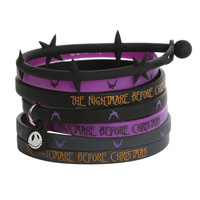 The Nightmare Before Christmas Black And Purple Rubber Bracelet 7 Pack