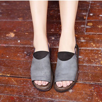 Handmade Retro Leather Sandals for Women Peep Toe, Summer Shoes Gray, Simple Flat Shoes,comfortable leather Sandals Slingbacks