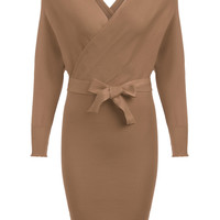 Khaki V-Neck Wrap Tie-Waist Midi Dress