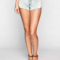 Almost Famous Side Crochet Womens Denim Shorts Bleach  In Sizes