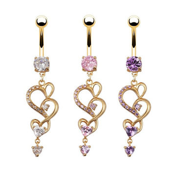 New Style Heart Crystal Rhinestone Navel Ring Belly Piercing Jewelry Gold Plated Button Bar Ring = 1645433988