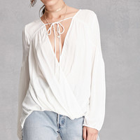 Surplice Self-Tie Front Top