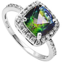 Mystic Topaz Sterling Silver Halo Ring