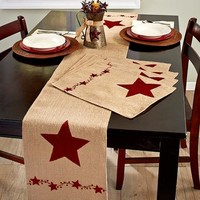 Country Star Tabletop Linens Placemats Runner Burlap Farmhouse Style Decor