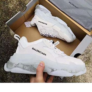 Balenciaga Shoes High Quality Contrast Crystal clear shoes Triple sole Shoes White