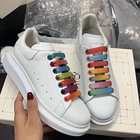 Alexander Mcqueen's new rainbow lace-up muffin heightening sneakers shoes